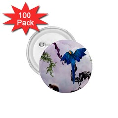 Wonderful Blue Parrot In A Fantasy World 1.75  Buttons (100 pack)