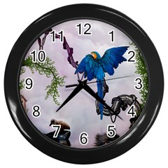 Wonderful Blue Parrot In A Fantasy World Wall Clocks (Black)