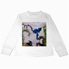 Wonderful Blue Parrot In A Fantasy World Kids Long Sleeve T-Shirts