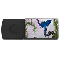 Wonderful Blue Parrot In A Fantasy World USB Flash Drive Rectangular (4 GB)