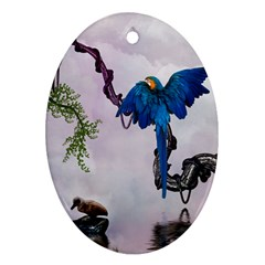 Wonderful Blue Parrot In A Fantasy World Oval Ornament (Two Sides)