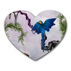 Wonderful Blue Parrot In A Fantasy World Heart Mousepads