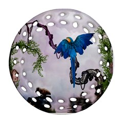 Wonderful Blue Parrot In A Fantasy World Ornament (Round Filigree)