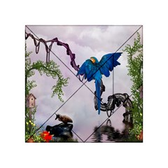 Wonderful Blue Parrot In A Fantasy World Acrylic Tangram Puzzle (4  x 4 )