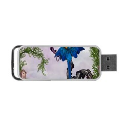 Wonderful Blue Parrot In A Fantasy World Portable USB Flash (Two Sides)