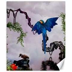 Wonderful Blue Parrot In A Fantasy World Canvas 20  x 24
