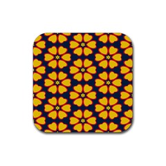 Yellow flowers pattern         			Rubber Square Coaster (4 pack