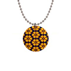 Yellow Flowers Pattern         1  Button Necklace