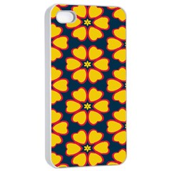 Yellow flowers pattern        Apple iPhone 4/4s Seamless Case (White)