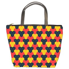 Red blue yellow shapes pattern        	Bucket Bag
