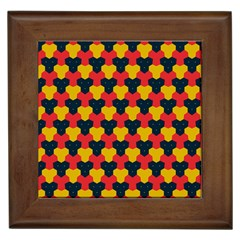 Red blue yellow shapes pattern        Framed Tile