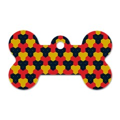 Red blue yellow shapes pattern        Dog Tag Bone (One Side)