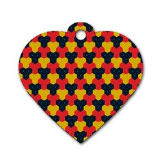 Red blue yellow shapes pattern        Dog Tag Heart (One Side)