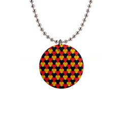 Red Blue Yellow Shapes Pattern        			1  Button Necklace