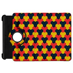 Red blue yellow shapes pattern       			Kindle Fire HD Flip 360 Case