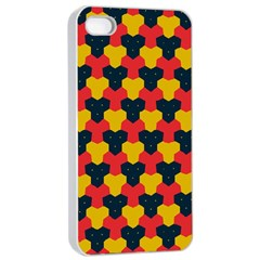 Red blue yellow shapes pattern       Apple iPhone 4/4s Seamless Case (White)