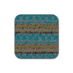 Blue brown waves       			Rubber Square Coaster (4 pack