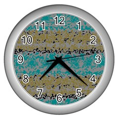 Blue brown waves       Wall Clock (Silver)