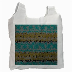 Blue brown waves       Recycle Bag (One Side)