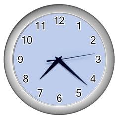 Solid Alice Blue in an English Country Garden Wedding Wall Clocks (Silver)