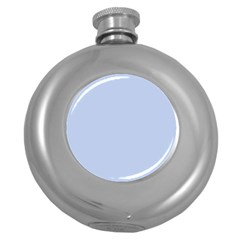 Solid Alice Blue in an English Country Garden Wedding Round Hip Flask (5 oz)