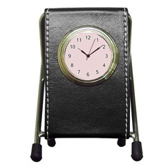 Solid Alice Pink in an English Country Garden Pen Holder Desk Clocks