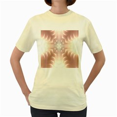 Neonite Abstract Pattern Neon Glow Background Women s Yellow T Shirt