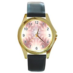 Neonite Abstract Pattern Neon Glow Background Round Gold Metal Watch