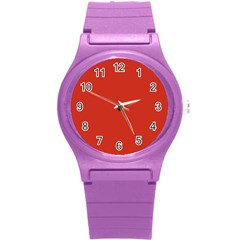 Dahlia Red in an English Country Garden Round Plastic Sport Watch (S)