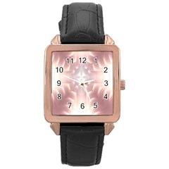 Neonite Abstract Pattern Neon Glow Background Rose Gold Leather Watch