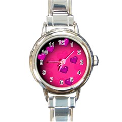 Pink Hearth Background Wallpaper Texture Round Italian Charm Watch