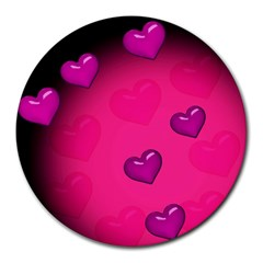 Pink Hearth Background Wallpaper Texture Round Mousepads