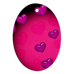 Pink Hearth Background Wallpaper Texture Ornament (Oval)