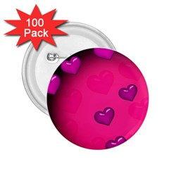 Pink Hearth Background Wallpaper Texture 2.25  Buttons (100 pack)