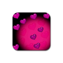 Pink Hearth Background Wallpaper Texture Rubber Square Coaster (4 Pack)