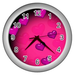 Pink Hearth Background Wallpaper Texture Wall Clocks (Silver)