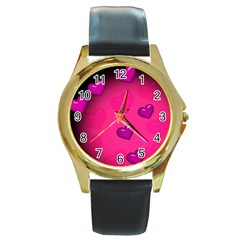 Pink Hearth Background Wallpaper Texture Round Gold Metal Watch