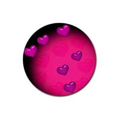 Pink Hearth Background Wallpaper Texture Rubber Round Coaster (4 Pack)