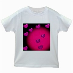 Pink Hearth Background Wallpaper Texture Kids White T Shirts