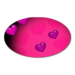 Pink Hearth Background Wallpaper Texture Oval Magnet