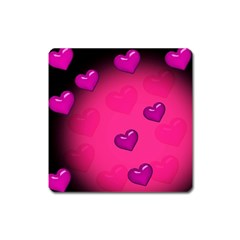 Pink Hearth Background Wallpaper Texture Square Magnet