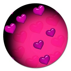 Pink Hearth Background Wallpaper Texture Magnet 5  (round)