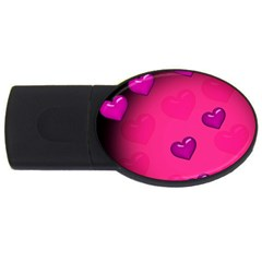 Pink Hearth Background Wallpaper Texture Usb Flash Drive Oval (2 Gb)