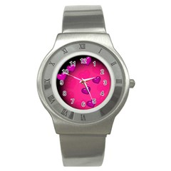 Pink Hearth Background Wallpaper Texture Stainless Steel Watch
