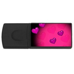 Pink Hearth Background Wallpaper Texture USB Flash Drive Rectangular (4 GB)