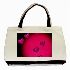 Pink Hearth Background Wallpaper Texture Basic Tote Bag (two Sides)
