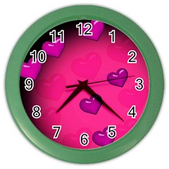 Pink Hearth Background Wallpaper Texture Color Wall Clocks