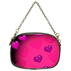 Pink Hearth Background Wallpaper Texture Chain Purses (Two Sides)