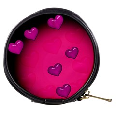 Pink Hearth Background Wallpaper Texture Mini Makeup Bags