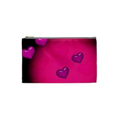 Pink Hearth Background Wallpaper Texture Cosmetic Bag (Small)